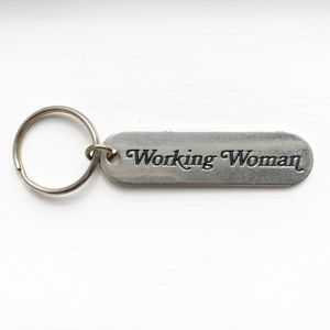 "Vintage silver & black ""Working Woman"" keychain"